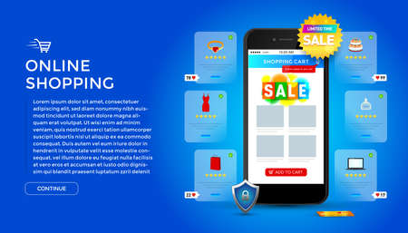 Online shopping on application and website concept, digital marketing online, shopping cart with new items on smartphone screen.