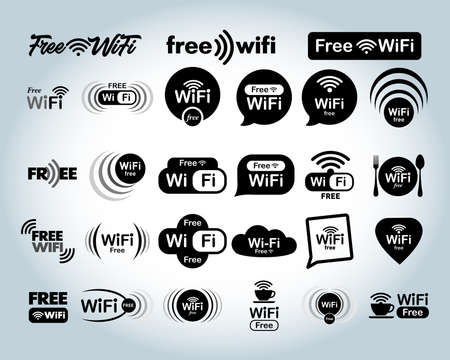 Set of free WiFi and zone sign. Remote access and radio waves communication symbols. Vector illustration. Isolated on white background Ilustração