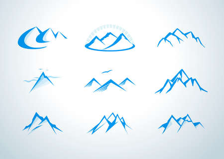 Set of vector mountain and outdoor adventures. Mountains, rocks and peaks. Isolated vector illustrations. Ilustração