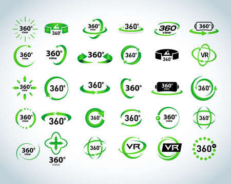 360 Degrees View Vector Icons set. Virtual reality icons. Isolated vector illustrations. Green version.