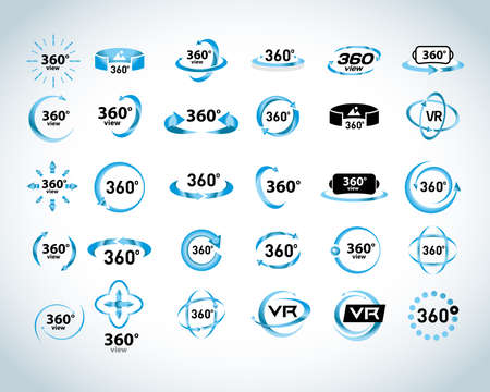 360 Degrees View Vector Icons set. Virtual reality icons. Isolated vector illustrations. Blue version. Ilustração