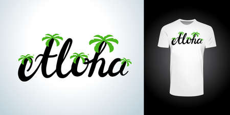 aloha hawaii with silhouette tropical palm stylish t-shirt and apparel trendy design and with typography lettering, print, vector illustration design.