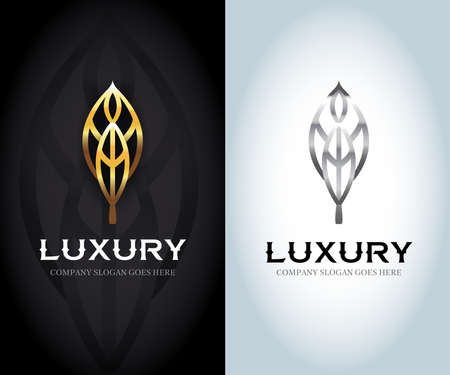 Luxury golden and silver logo, Vector leaf, golden shape and monochromatic one. Abstract emblem, design concept, logo, logotype element for template.
