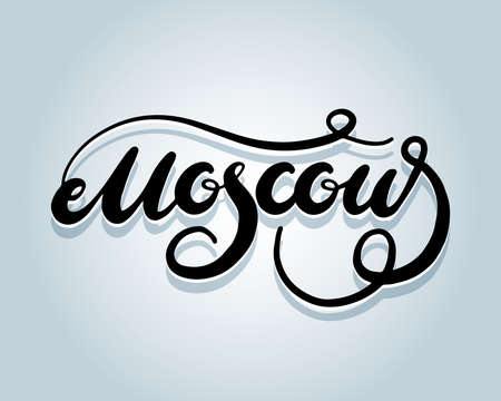Moscow calligraphy, Moscow word Vector ink lettering. Handwriting black on white background. Moscow capital Modern calligraphy style. Brush pen. isolated vctor illustration.