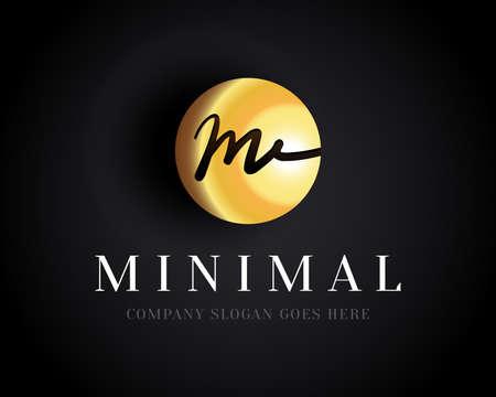 Gold Letter M brush design. Letter M calligraphy . Linear creative minimal monochrome monogram symbol. Universal elegant vector sign design. Premium business .