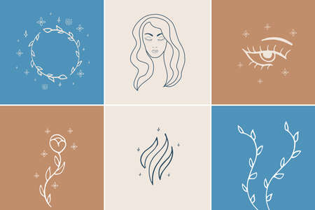 Vector abstract logo and branding design templates in trendy linear minimal style, emblem for beauty studio and cosmetics - female portrait, beautiful woman's face - badge for make up artist, fashion