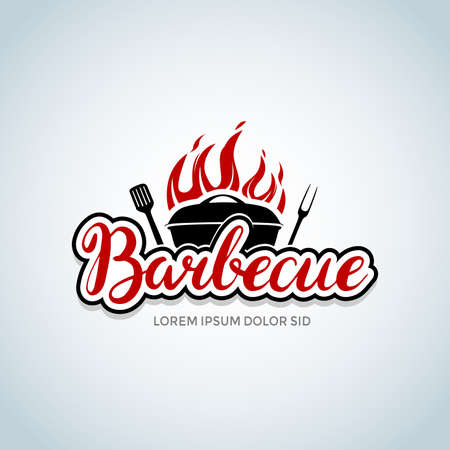 barbecue  with bbq logotype and fire concept in combination with spatula. Barbecue party  , party invitation template. Vector illustration.