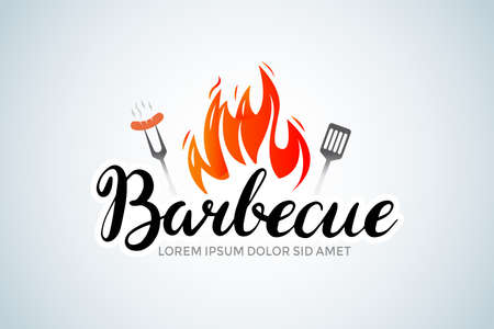 barbecue calligraphy brush  with bbq logotype and fire concept in combination with spatula. Barbecue party  , party invitation template. Vector illustration.