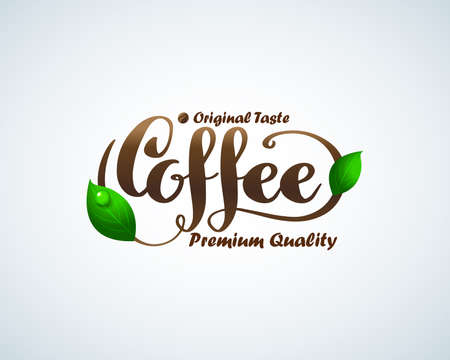 Hand lettering Coffee brush logotype. Hot coffee . coffee shop illustration design elements vector. Stylized coffee cup icon. Cafe food court sign symbol with green leafs. Ilustração