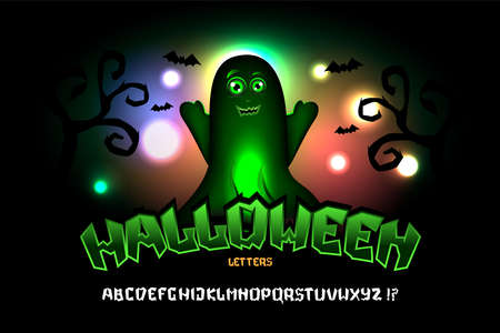 Halloween font with cute ghost. Typography alphabet with colorful spooky and horror illustrations. Type design for holiday party celebration. Design vector banner with hand-drawn lettering.