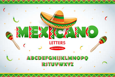 Mexican letters for advertising. Mexican letters for advertising, title or logo design. Modern font. Mexican style Latin alphabet letters. Alphabet. Isolated vector illustration.