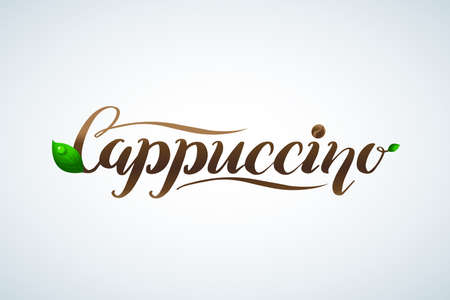 Coffee lettering. Vector hand drawn calligraphy Cappuccino with leaves. Elegant modern calligraphy ink illustration. Typography poster on white background. Coffee shop or restaurant promotion lettering