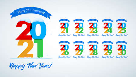 Big collection of 2021 - 2030 years. Happy New Year signs. Set of 2021-2030 Happy New Year symbols. Greeting card artwork, brochure template. Vector illustration with holiday labels