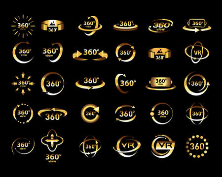 Gold 360 Degrees View Vector Icons set. Virtual reality icons. Isolated vector illustrations. Golden version.