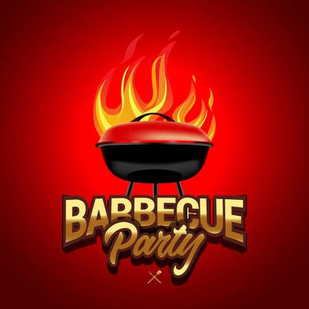 BBQ red poster designs, party design, invitation, ad design.