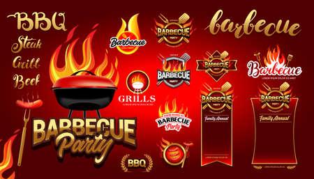 BBQ design elements set, party design, invitation, ad design. Ilustração