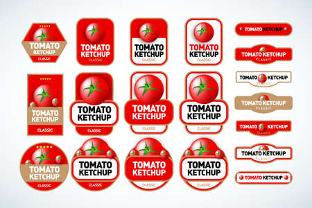 Tomato ketchup, sauce badge label design set. Vector hand drawn illustration of tomatoes in engraving technique. Vintage shield form templates for tomato sauce packaging. Ilustração