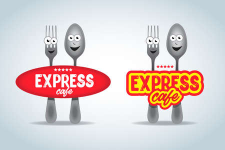Fast food logo set, express cafe logo template. Fork and spoon cartoon characters, food theme logotype vector template.