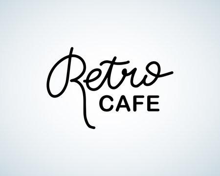 Retro cafe brush lettering logo, vintage logo for restaurant food and drink. Isolated vector illustration.