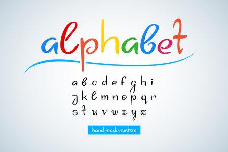 Hand drawn doodle lettering alphabet, numbers. Lettering set, letter art. Template design. Hand drawn lettering postcard, template for banner, t-shirt design. Ilustração