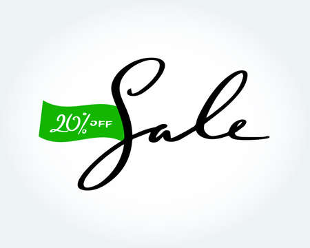 Sale brush handmade lettering. Sale 20% off sign. Sale fashion, isolated vector illustration. 矢量图像