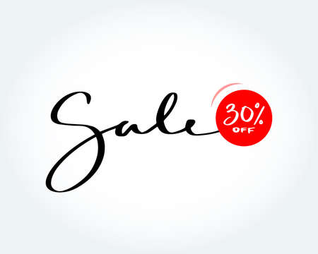 Sale brush handmade lettering. Sale 30% off sign. Sale fashion, isolated vector illustration. 矢量图像