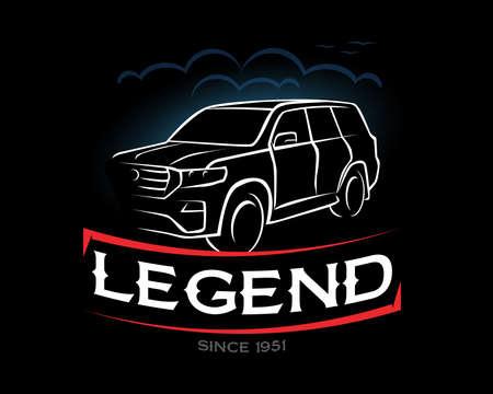 Legend t-shirt, since 1951.  Offroad SUV car,, Hand drawn sketch, retro badge, typography design t-shirt print, vector illustration. Ilustração