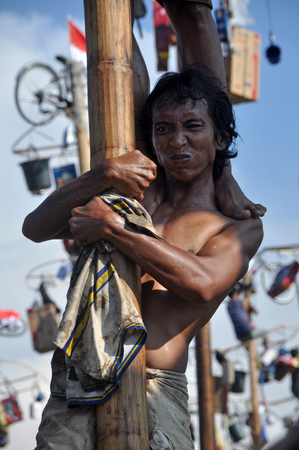 attempted: Indonesian mens in teams try to climb to the top of a greased pole called a panjat pinang in order to get to the prizes tied to the top of pole. Cities and villages across Indonesia celebrated of Independence Day with traditional games, and music, and fla