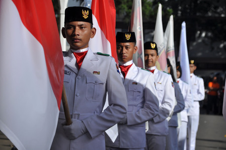 Indonesian Republic flag raisers are conducting ceremonies flag at Bogor government buildings. Editorial