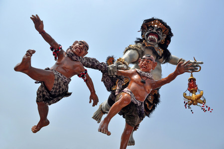 exterminating: Ogoh-ogoh is a giant puppet, devil symbol. In the parade is usually a stretcher by dozens of people, after arriving at the temple Ogoh-ogoh be burned, as a symbol of exterminating demons. Stock Photo