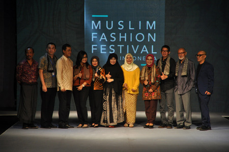 25 29: Committee and sponsor MUFFEST 2016 group photo during the Muslim Fashion Festival in Jakarta on May 25, 2016. Muslim Fashion Festival is held in Jakarta on May 25 - 29, ahead of the month of Ramadan that starts in Indonesia on June 6