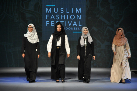 25 29: Four Indonesian Muslim fashion designer, Sad Indah, Cut Nyak, Yuan, Iva Schwan during the Muslim Fashion Festival in Jakarta on May 25, 2016. Muslim Fashion Festival is held in Jakarta on May 25 - 29, ahead of the month of Ramadan that starts in Indonesia