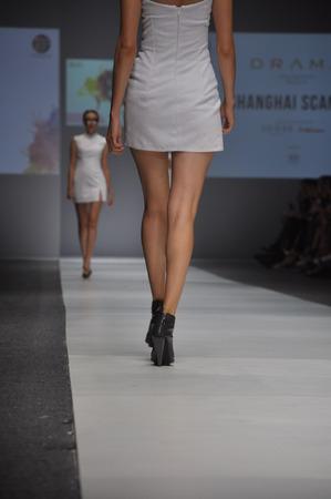 fashion model catwalk: Model catwalk at Jakarta Fashion Week Event, Indonesia Stock Photo