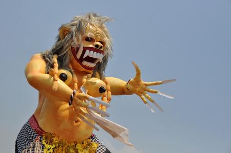 Ogoh-ogoh the Balinese demon symbol at Balinese New Year Stock Photo