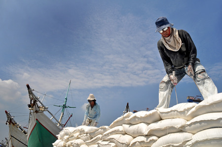 unload: Indonesian port workers unload a ship with a flour bags