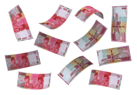 3D Indonesian rupiah money white background Imagens