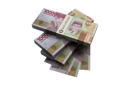 3D New Indonesian rupiah money white background