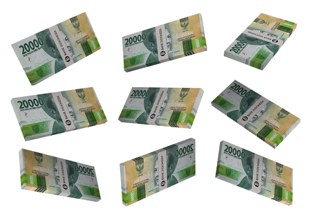 3D Indonesian rupiah money white background Stock Photo