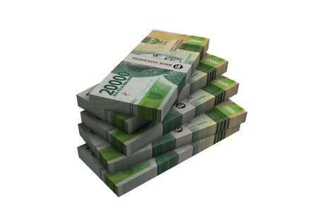 ilustration: 3D Indonesian rupiah money white background Stock Photo