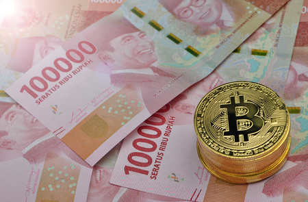 Bitcoin and Indonesia Rupiah Stock Photo