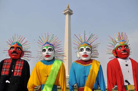 Ondel-ondel The Big Jakarta Traditional Puppet 版權商用圖片