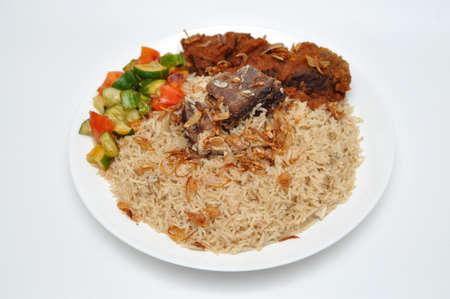 Closeup of Kebuli Rice White Background