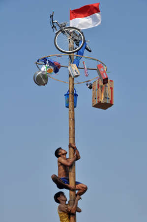 Jakarta, Indonesia - August 17, 2014: Indonesian men in teams try to climb to the top of a greased pole called a panjat pinang in order to get to the prizes tied to the top Editorial