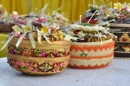 Offerings at the Nyepi ceremony of Indonesian Hindus