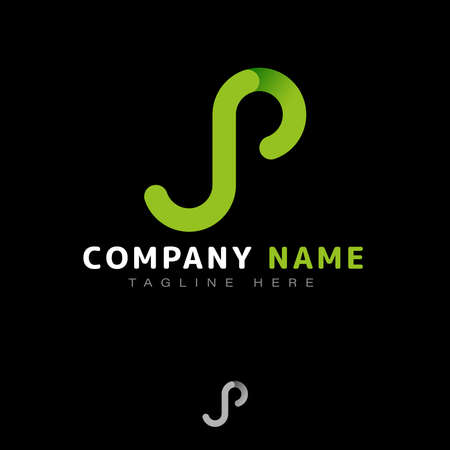 SP Logo Design. Interesting memorable combination of letters S and P in minimalist and simple style with gradient green color. Suitable for various industries incl. esports, gaming, technology, etc.