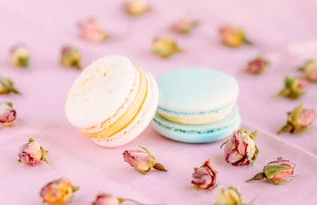 Selective focus on macarons with cream and the buds of dried roses. Standard-Bild - 140552951