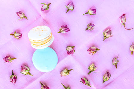 Top view at macarons and dried roses on pastel color bakcground. Standard-Bild - 140552962