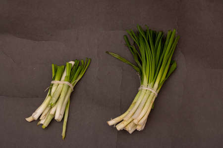 Green Onions on black table, top view and copy space