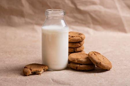 Non-dairy vegan oat milk. Selective focus