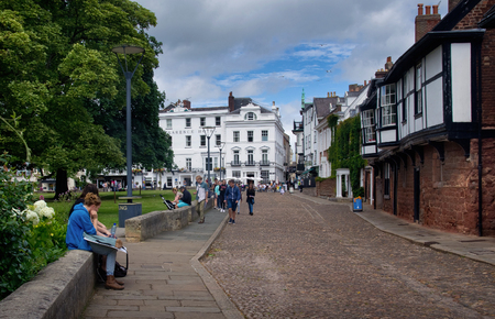 EXETER, UK - July 11 2016: Citizens in the Cathedral Close. England. Devon
